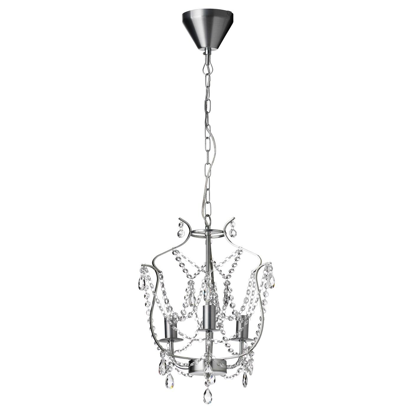 IKEA KRISTALLER srebrny żyrandol z trzema ramionami ze szklanymi zdobieniami