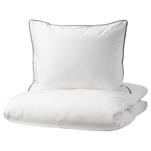 KUNGSBLOMMA komplet pościeli biały/szary 200 /inch² 1 szt. 200 cm 150 cm 50 cm 60 cm