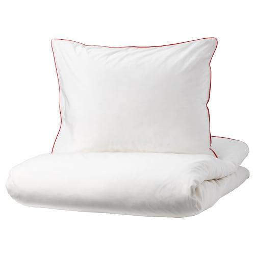 KUNGSBLOMMA komplet pościeli biały/czerwony 200 /inch² 1 szt. 200 cm 150 cm 50 cm 60 cm