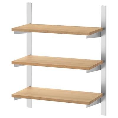 KUNGSFORS Szyna do zawieszania z półkami, stal nierdz/bambus, 60 cm