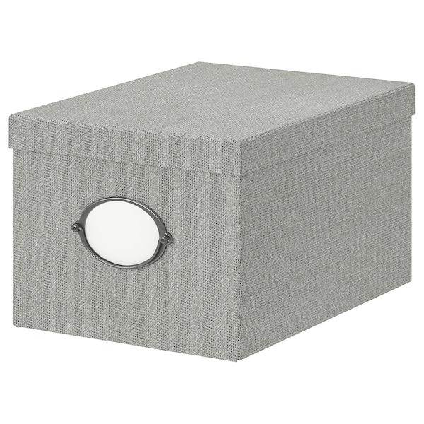 KVARNVIK Pojemnik z pokrywą, szary, 25x35x20 cm