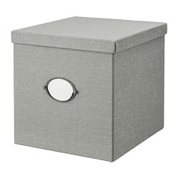КВАРНВИК Коробка с крышкой, серый, 32x35x32 см  - Икеа Украина