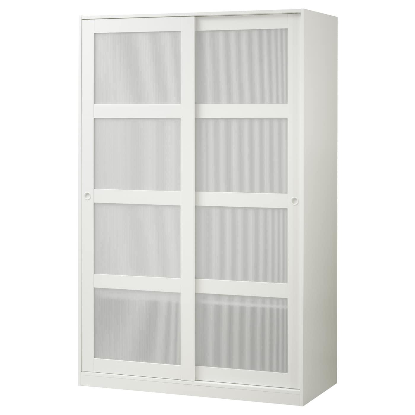 IKEA KVIKNE biała szafa z dwoma drzwiami przesuwanymi, 120x190 cm