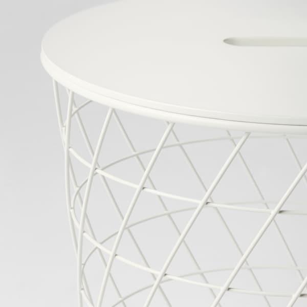 KVISTBRO Stolik z miejscem do przechowywania, biały, 44 cm