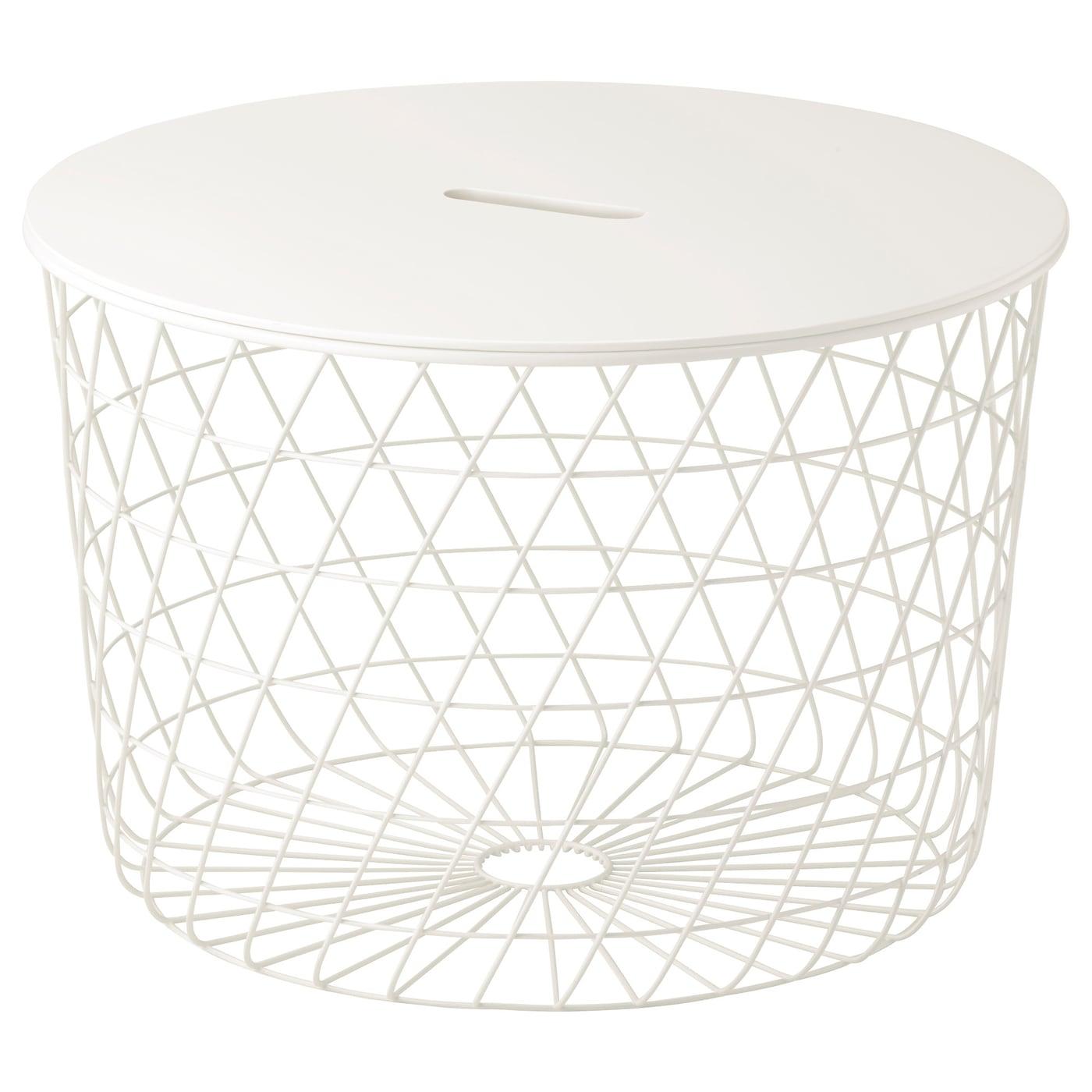 IKEA KVISTBRO biały stolik z miejscem do przechowywania, średnica 61 cm