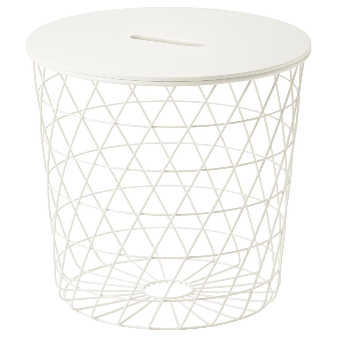 IKEA KVISTBRO biały stolik z miejscem do przechowywania, średnica 44 cm