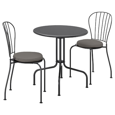 LÄCKÖ Stół+2 krzesła, na zewnątrz, szary/Frösön/Duvholmen ciemnoszary