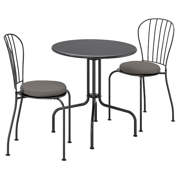 LÄCKÖ stół+2 krzesła, na zewnątrz szary/Frösön/Duvholmen ciemnoszary