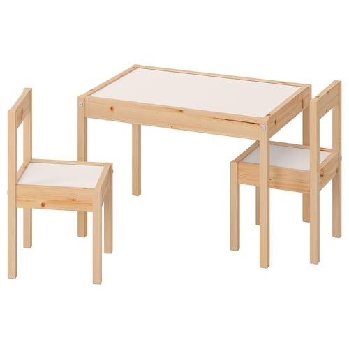LÄTT stolik dziecięcy i 2 krzesła biały/sosna 63 cm 48 cm 45 cm 28 cm 28 cm 28 cm