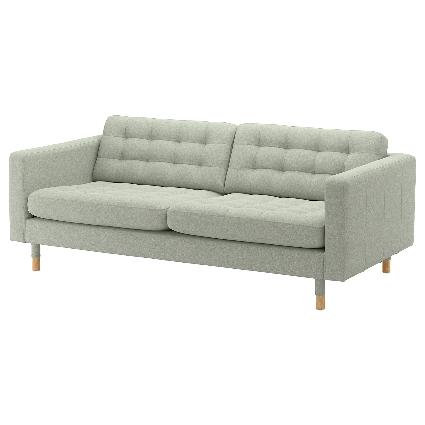 IKEA LANDSKRONA jasnozielona sofa trzyosobowa z drewnianymi nogami