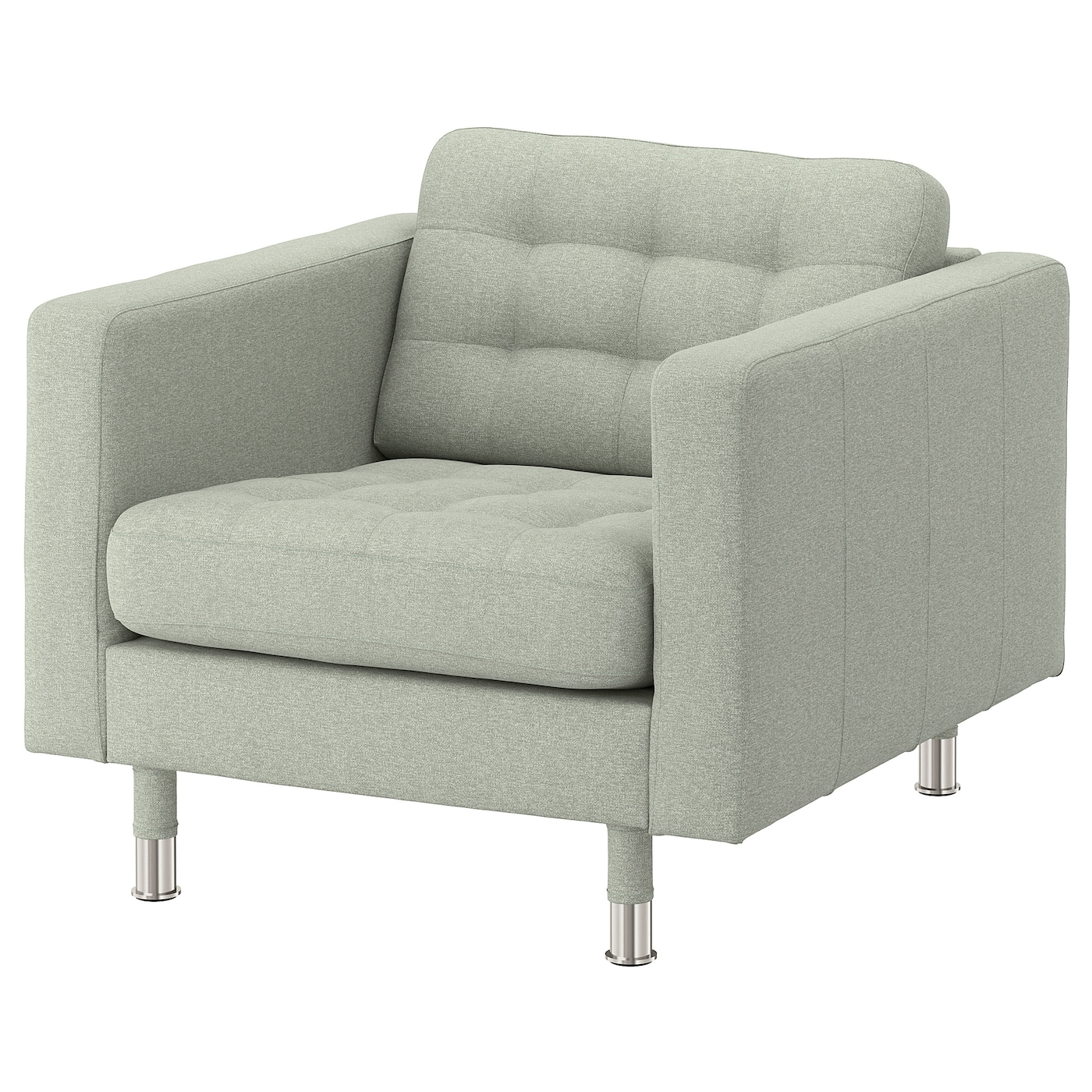 IKEA LANDSKRONA Fotel, Gunnared jasnozielony/metal
