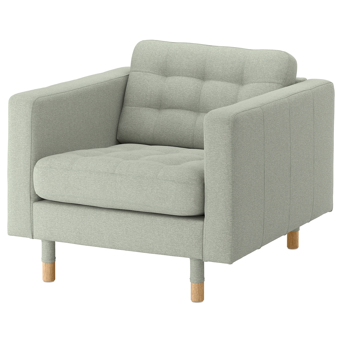 IKEA LANDSKRONA Fotel, Gunnared jasnozielony/drewno