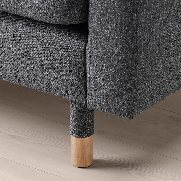 LANDSKRONA Fotel, Gunnared ciemnoszary/drewno