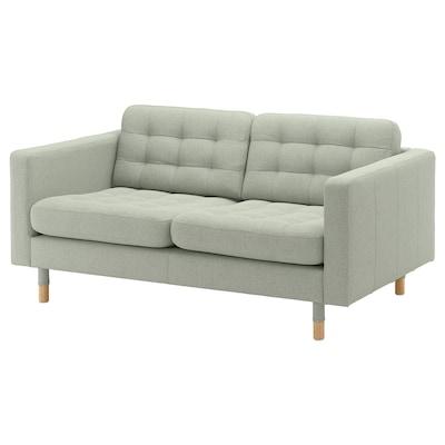 LANDSKRONA Sofa 2-osobowa, Gunnared jasnozielony/drewno