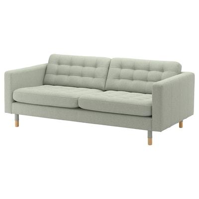LANDSKRONA Sofa 3-osobowa, Gunnared jasnozielony/drewno