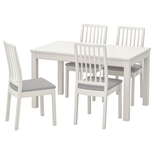 LANEBERG EKEDALEN Stół i 4 krzesła biały, biały jasnoszary 130190x80 cm