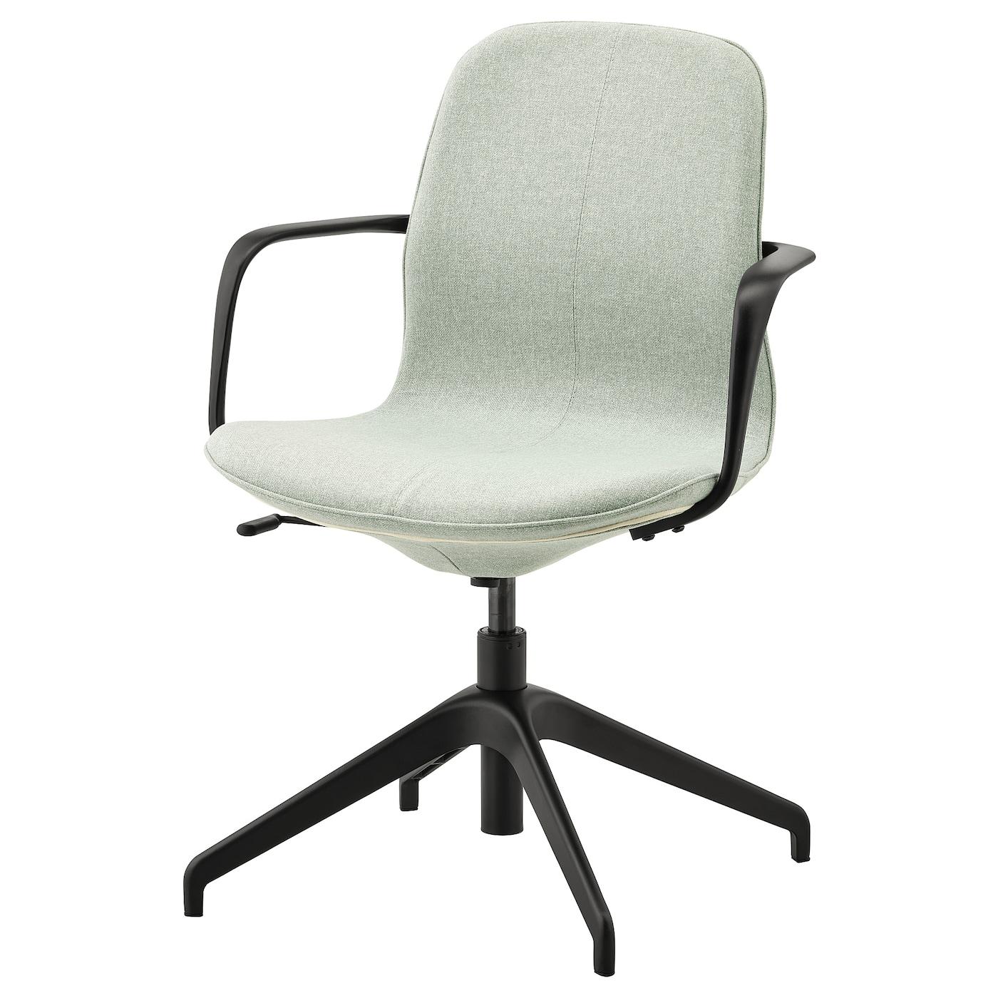 IKEA LÅNGFJÄLL Krzesło konferencyjne z podłokiet., Gunnared jasnozielony, czarny
