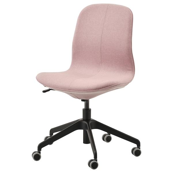 LÅNGFJÄLL Krzesło biurowe, Gunnared jasny różowy/czarny