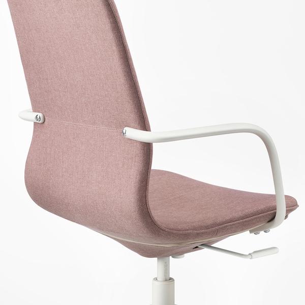 LÅNGFJÄLL Krzesło biurowe z podłokietnikami, Gunnared jasny różowy/biały
