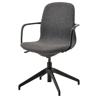 LÅNGFJÄLL Krzesło konferencyjne z podłokiet., Gunnared ciemnoszary/czarny