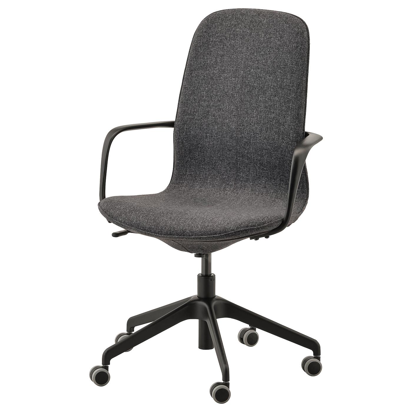 LÅNGFJÄLL Krzesło biurowe z podłokietnikami Gunnared ciemnoszary, czarny