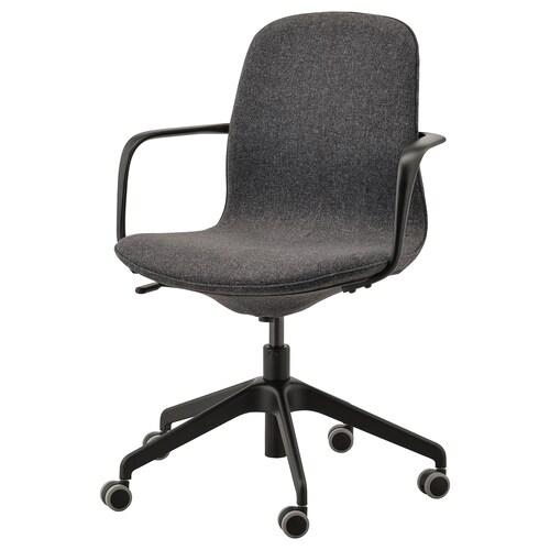 LÅNGFJÄLL krzesło biurowe z podłokietnikami Gunnared ciemnoszary/czarny 110 kg 68 cm 68 cm 92 cm 53 cm 41 cm 43 cm 53 cm
