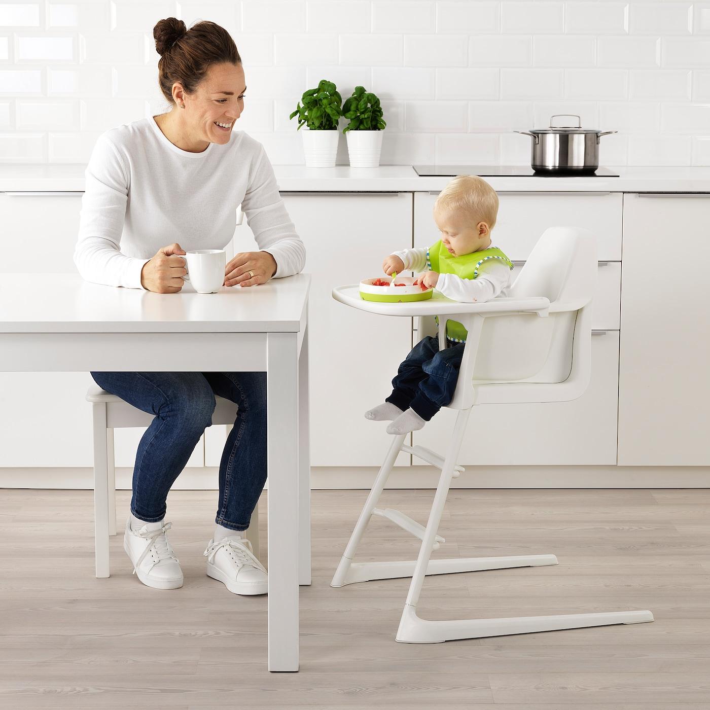 LANGUR Krzesło dziecięcewysokie z tacą biały