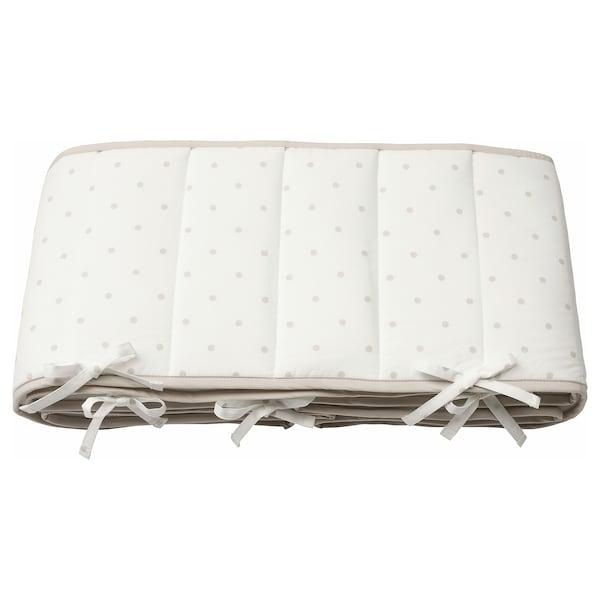 LENAST Ochraniacz do łóżeczka, w kropki/biały szary, 60x120 cm