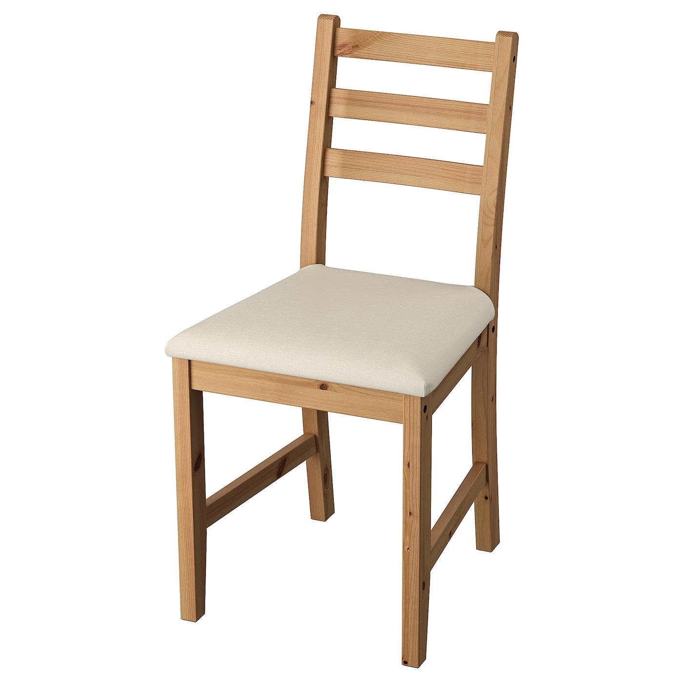IKEA LERHAMN sosnowe krzesło pokryte jasnopatynową bejcą z beżowym siedziskiem