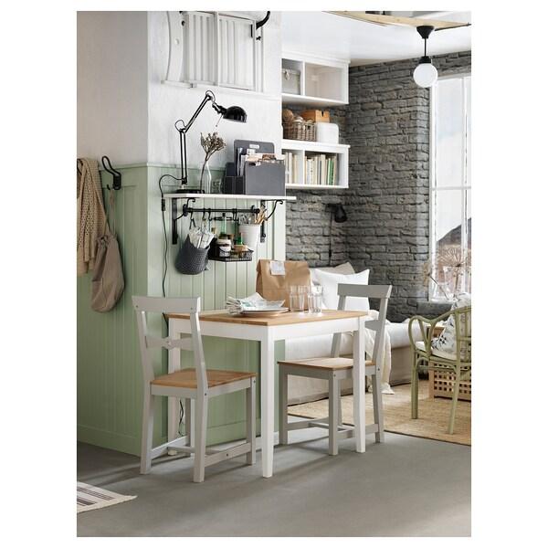 LERHAMN Stół, bejca jasna patyna/biała bejca, 74x74 cm