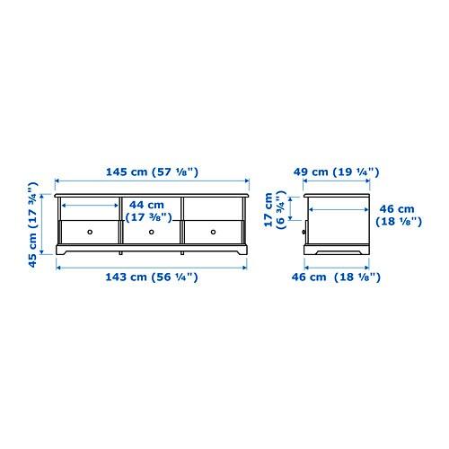 ЛИАТОРП Тумба под ТВ, белый, 145x49x45 см-9