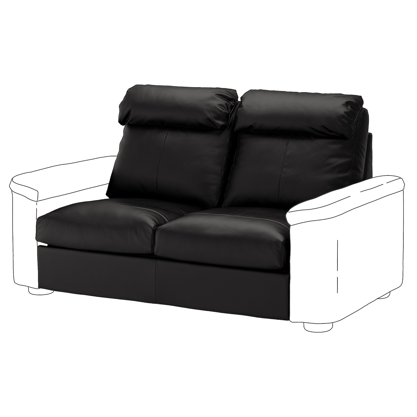 IKEA LIDHULT Sekcja 2-os sofa rozkładana, Grann/Bomstad czarny