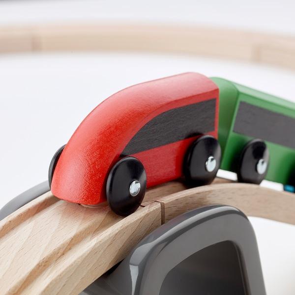 LILLABO kolejka drewniana, 20 elem. wielobarwny