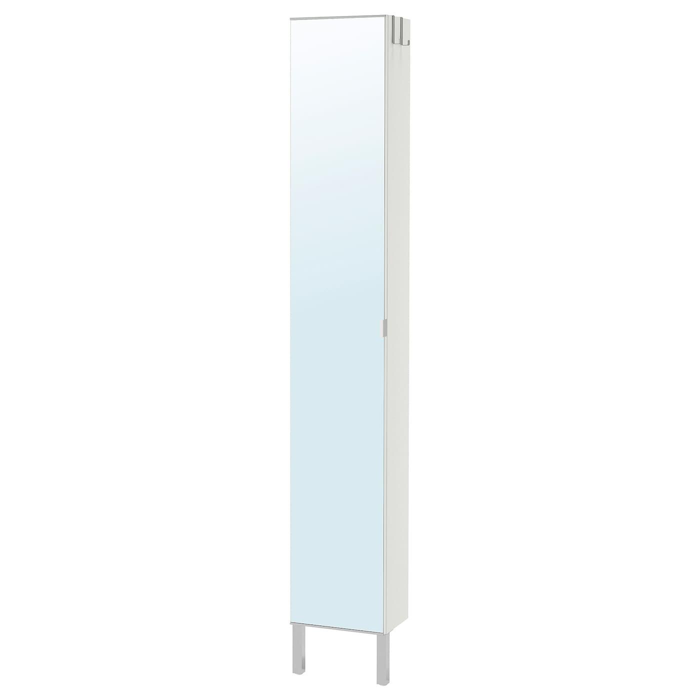 IKEA LILLÅNGEN biała, wysoka szafka z lustrzanymi drzwiami i nogami ze stali nierdzewnej, 30x21x194 cm