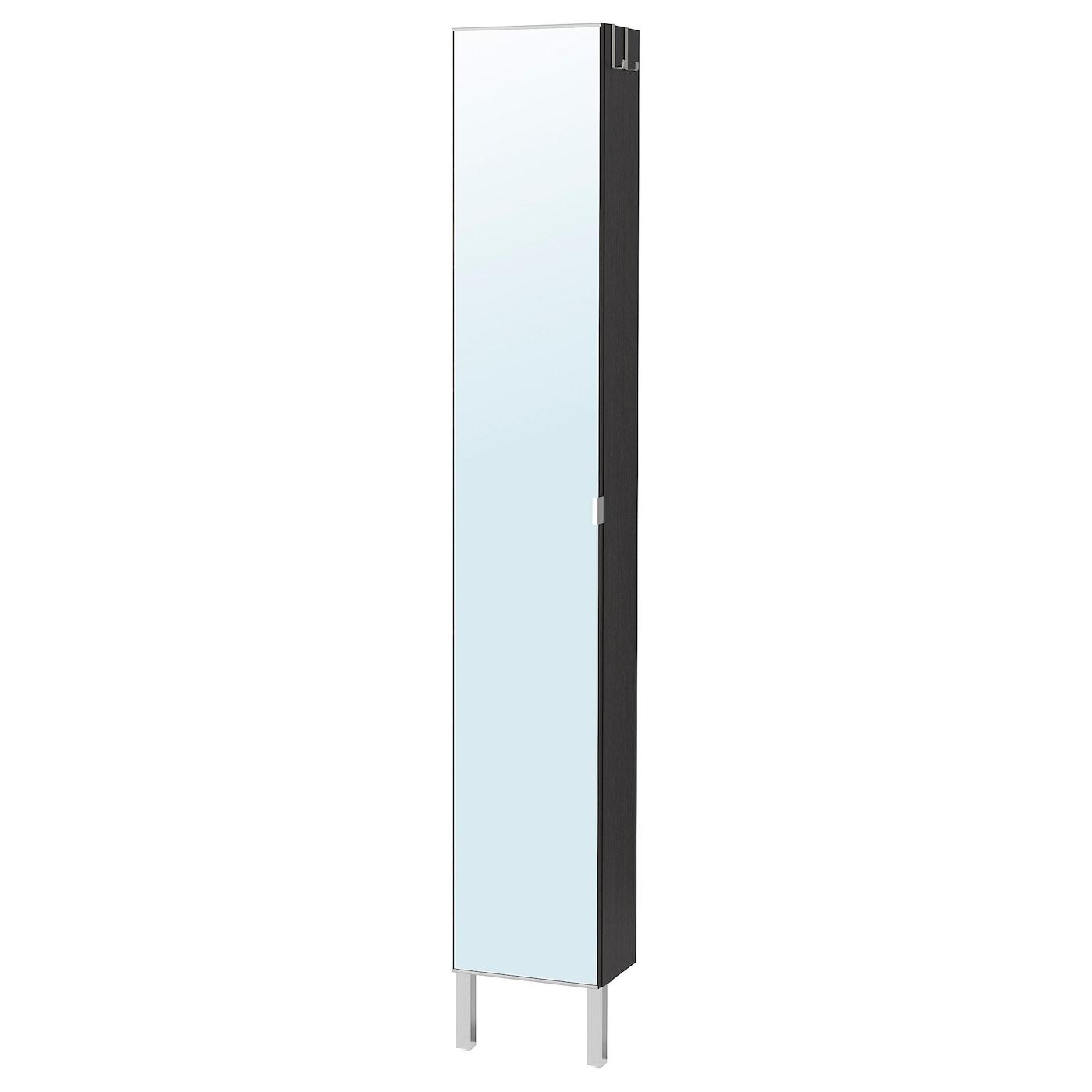 IKEA LILLÅNGEN czarnobrązowa, wysoka szafka z lustrzanymi drzwiami i nogami ze stali nierdzewnej, 30x21x194 cm
