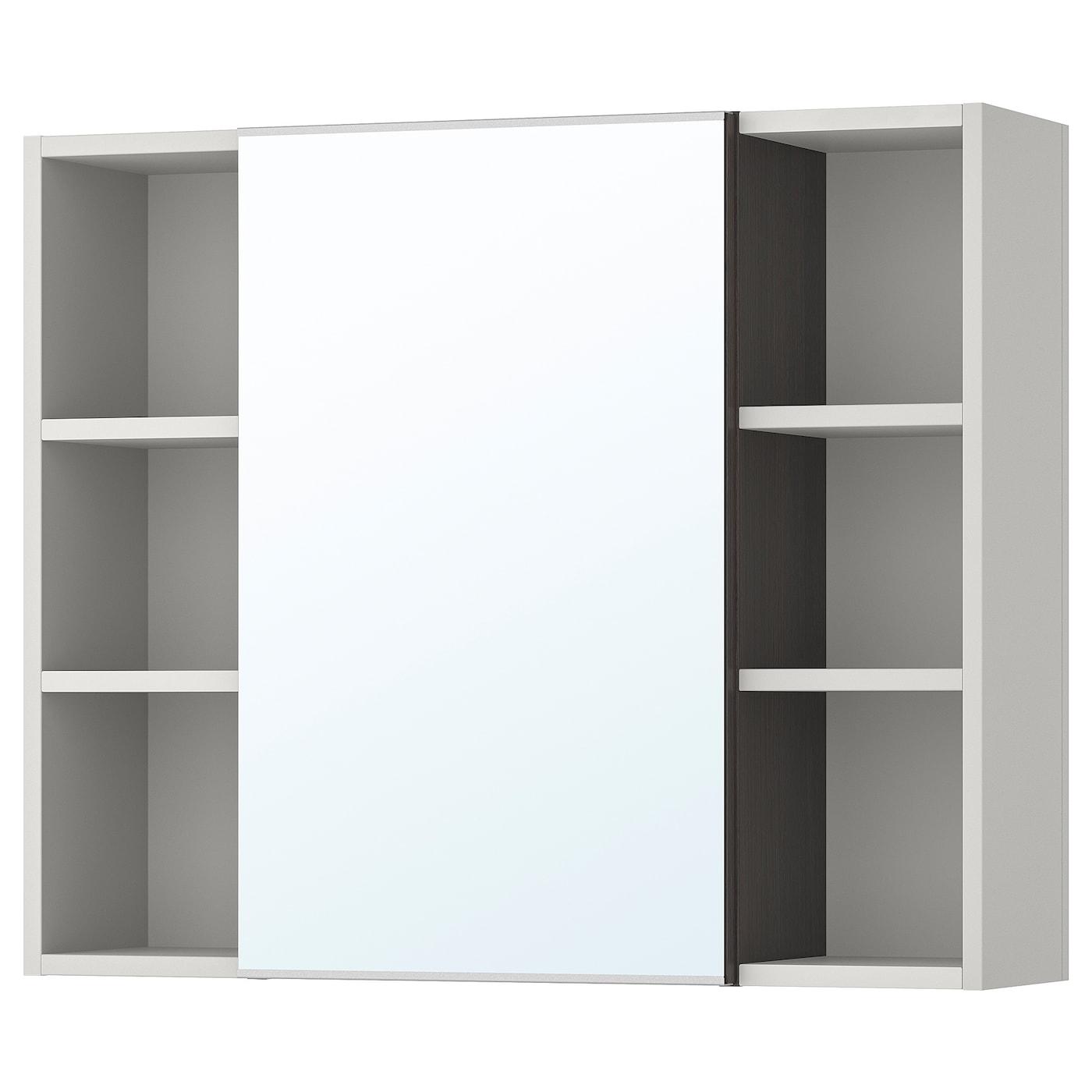 IKEA LILLÅNGEN Szafka z lustrem i drzwiami, czarnobrąz, szary, 78x21x64 cm