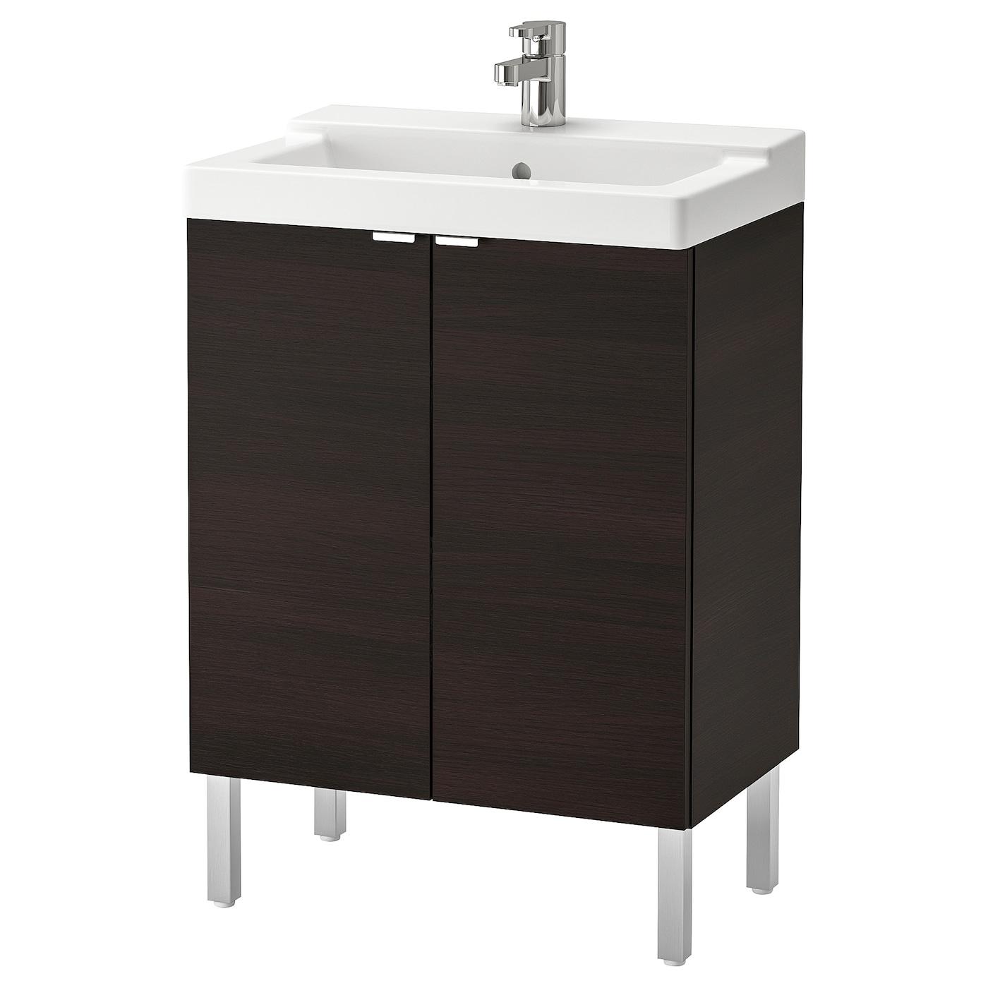 IKEA LILLÅNGEN / TÄLLEVIKEN Szafka pod umywalkę/2 drzwi, czarnybrąz, bateria Ensen, 61x41x87 cm