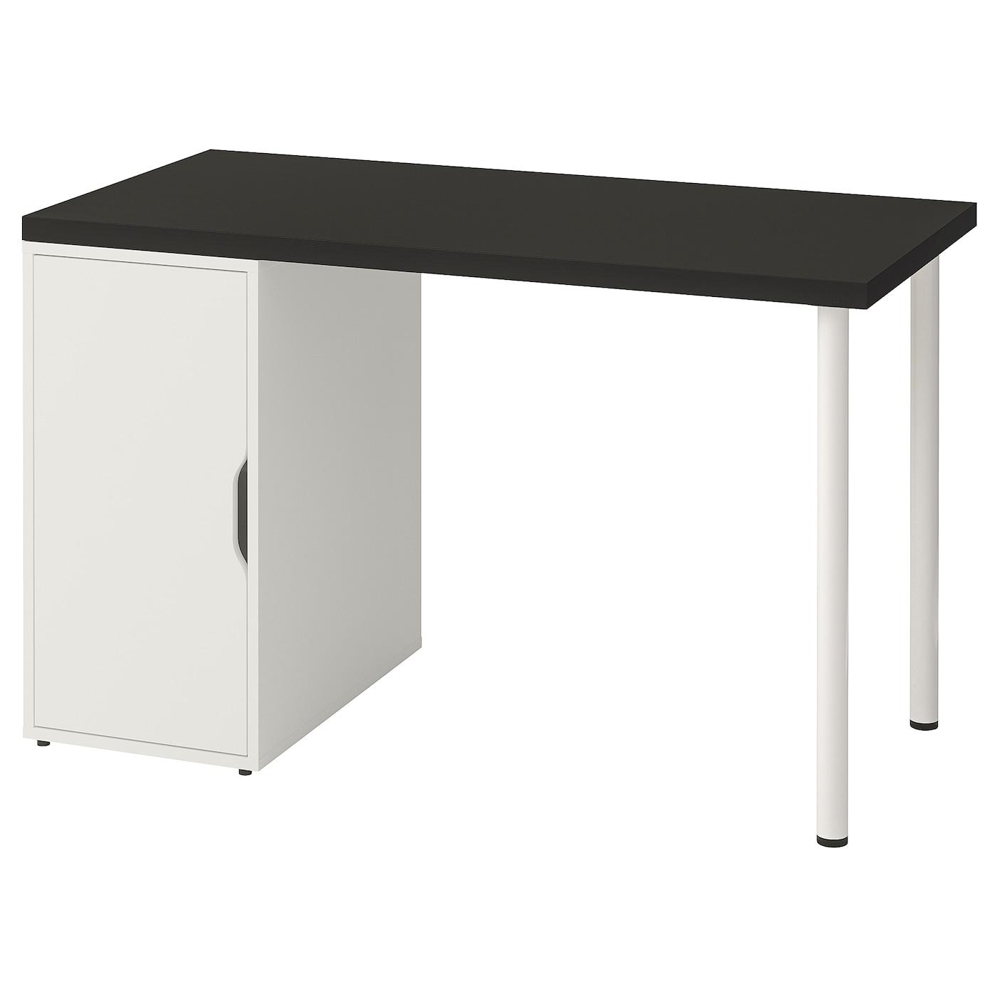 IKEA LINNMON stół z czarnobrązowym blatem wspartym parą nóg i białą szafką ALEX, 120x60 cm