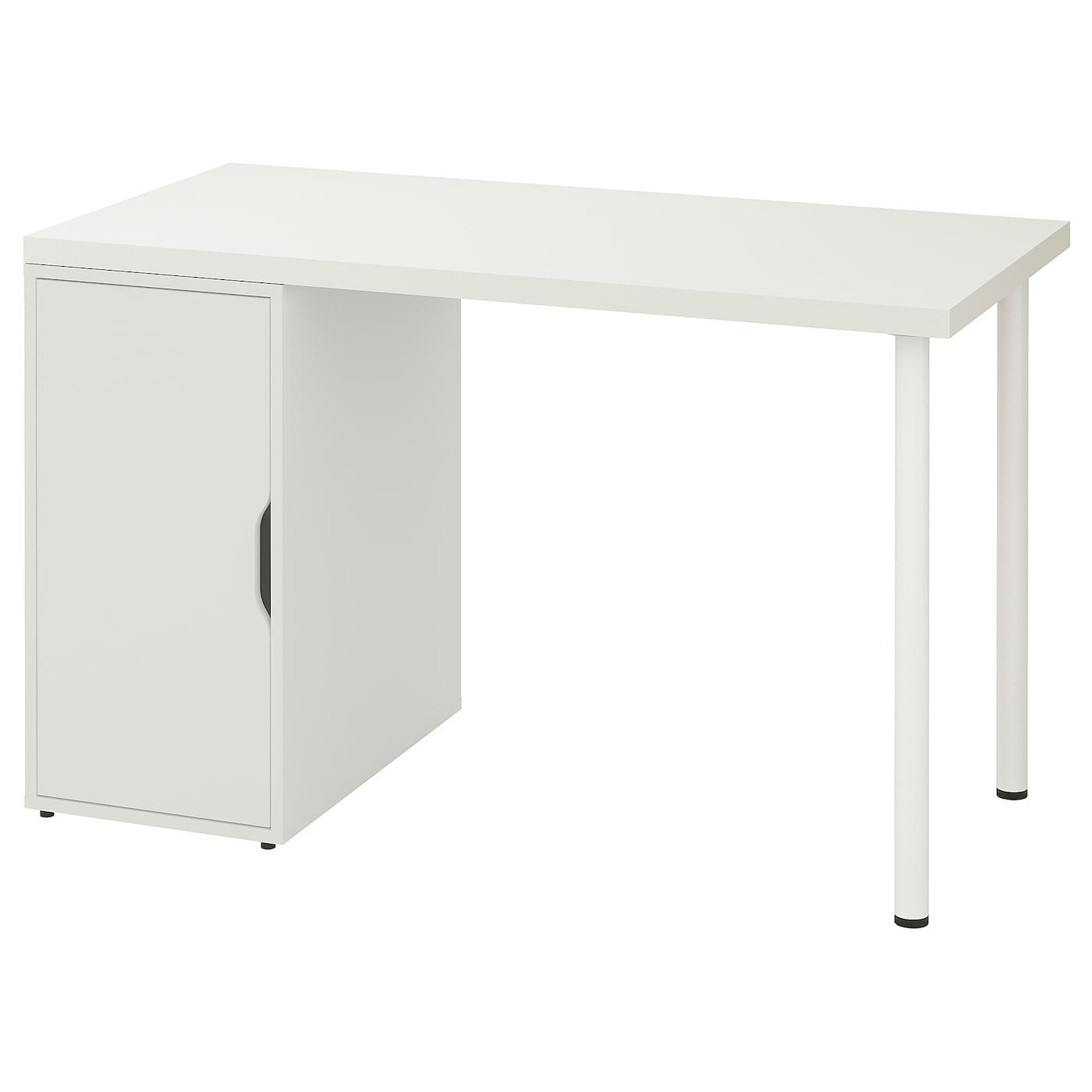 IKEA LINNMON stół z białym blatem wspartym parą nóg i białą szafką ALEX, 120x60 cm