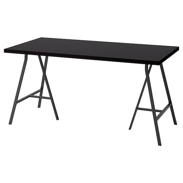 LINNMON / LERBERG Stół, czarnobrąz/szary, 150x75 cm