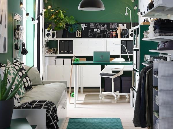 LINNMON / OLOV stół zielony/biały 150 cm 75 cm 64 cm 94 cm 50 kg