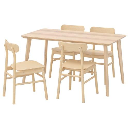 LISABO / RÖNNINGE stół i 4 krzesła okleina jesionowa/brzoza 140 cm 78 cm