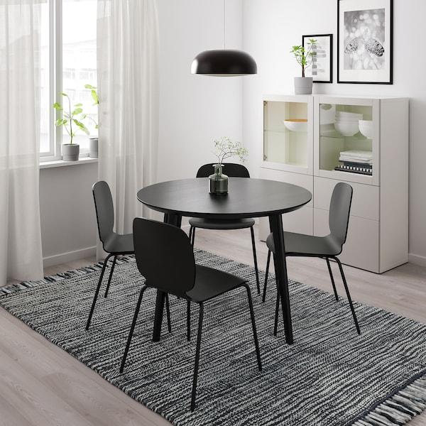 LISABO Stół, czarny, 105 cm