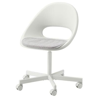 LOBERGET / BLYSKÄR Krzesło obrotowe z poduszką, biały/jasnoszary