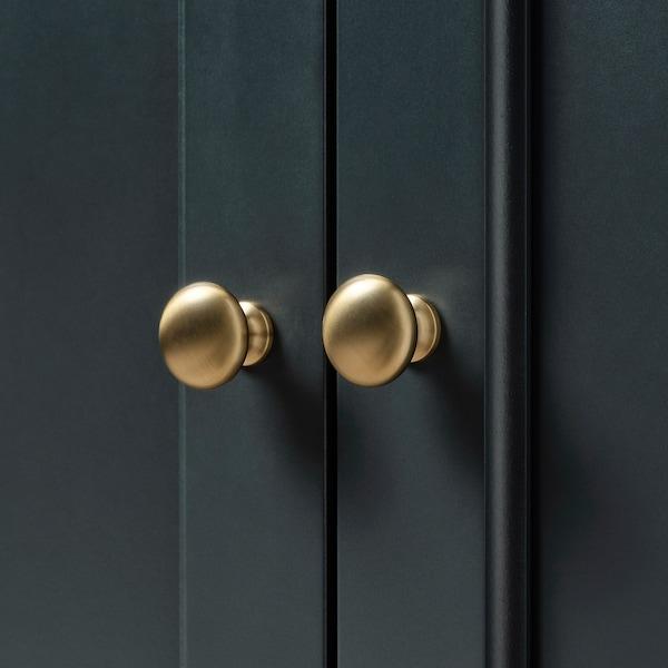 LOMMARP Szafka z drzwiami szklanymi, ciemnoniebieski-zielony, 86x199 cm