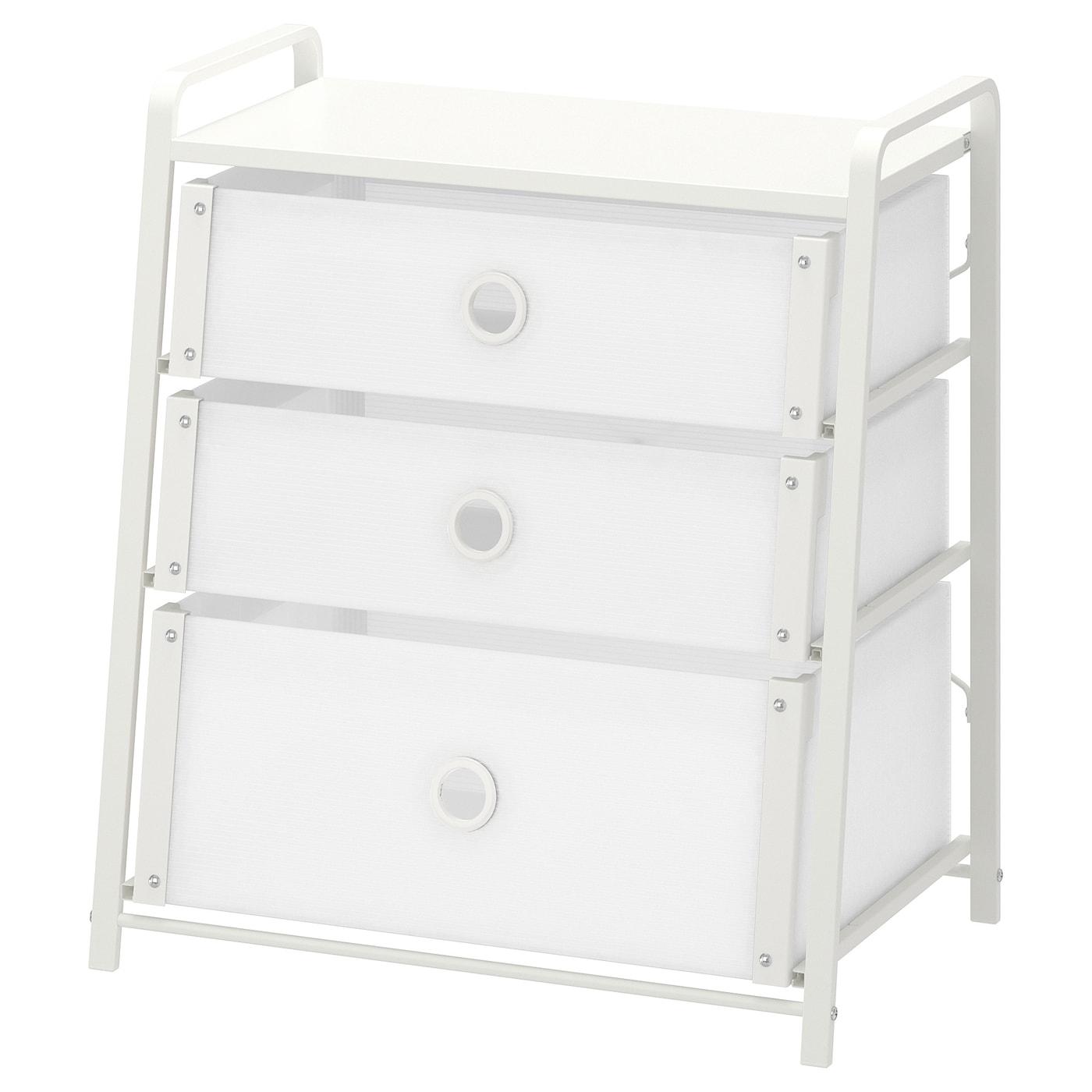 IKEA LOTE biała komoda z trzema szufladami, 55x62 cm