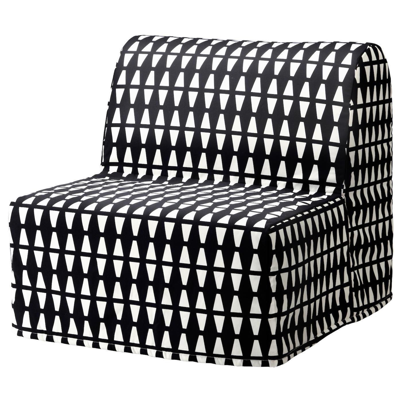 IKEA LYCKSELE HÅVET czarno-biały fotel rozkładany