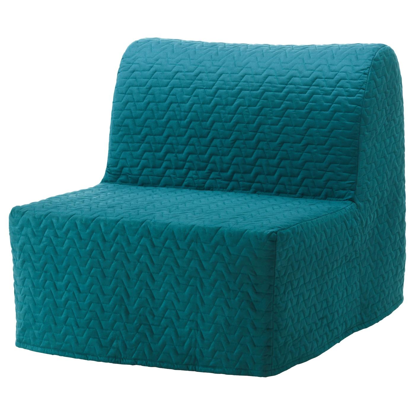 IKEA LYCKSELE LÖVÅS turkusowy fotel rozkładany