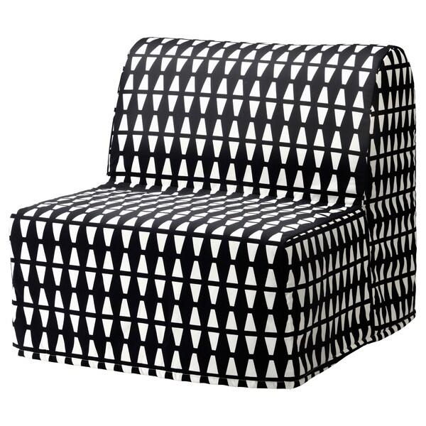 LYCKSELE LÖVÅS Fotel rozkładany, Ebbarp czarny/biały