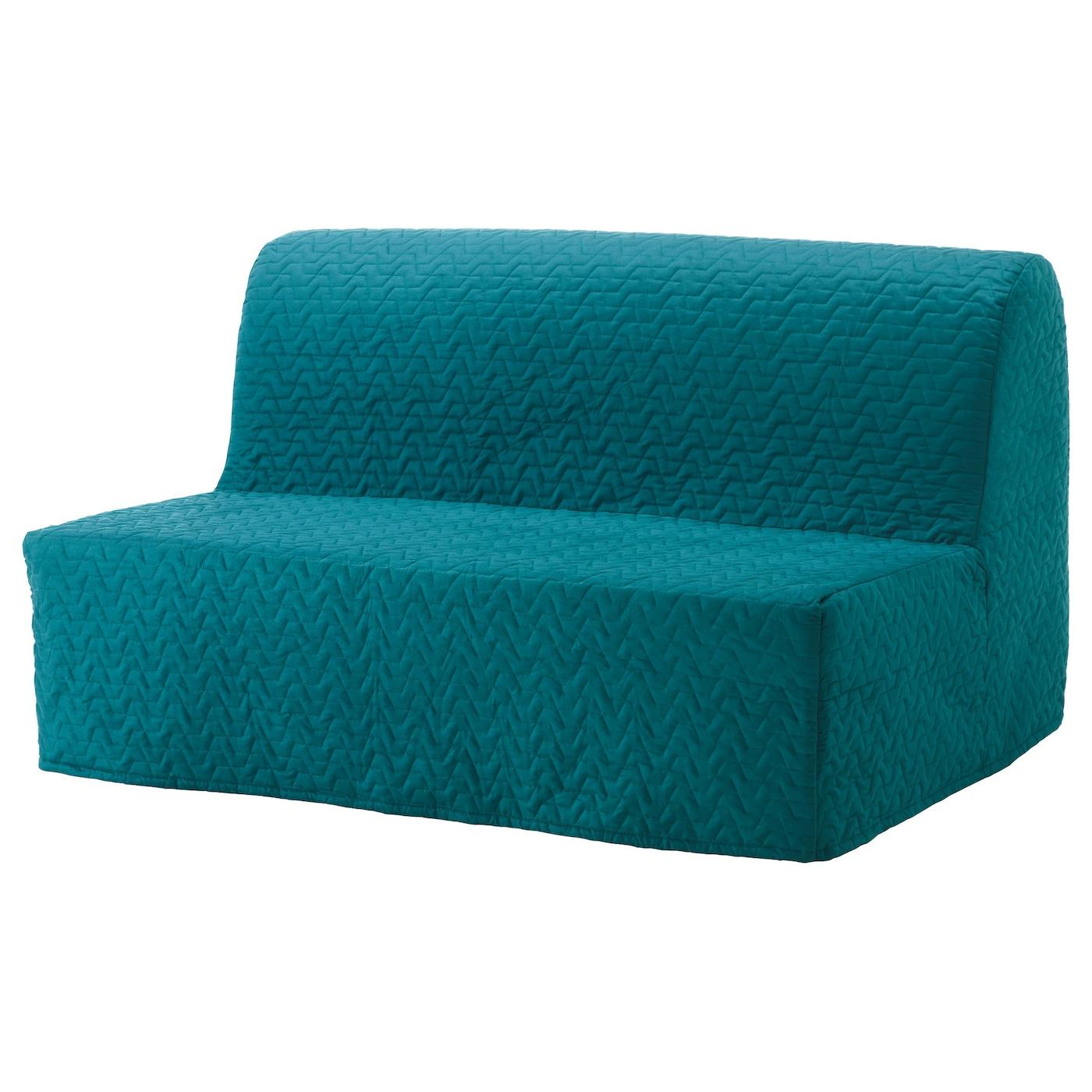 IKEA LYCKSELE MURBO turkusowa, dwuosobowa sofa rozkładana